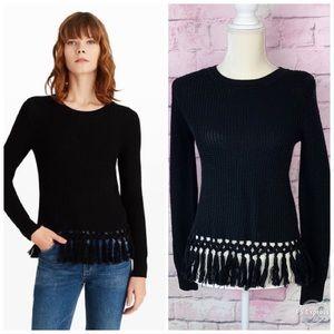 Club Monaco beberly fringe black sweater XS NWT